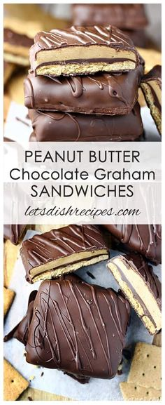 Peanut Butter Chocolate Graham Sandwiches Recipes: Graham crackers are dipped in chocolate, covered with a creamy peanut butter filling, then dipped in chocolate again to create these out-of-this-world peanut butter and chocolate treats! #chocolate #peanutbutter #desserts #recipes