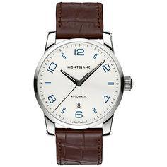 Buy Montblanc 110338 Men's Timewalker Alligator-Skin Strap Watch, Brown/White Online at johnlewis.com