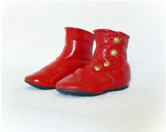 Vintage 60s Ceramic Shoes Booties Red at PaddywhackKnickKnack, $22.00