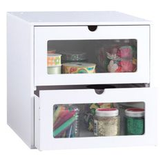 Organizer Cube: Modular stacking White painted finish Includes two clear front drawers Constructed of durable, high quality MDF fiberboard Assembly required Material conform to CARB regulation Inside Dimension of Each in W x 13 in D x 6 in H Craft Storage Solutions, Craft Room Storage, Cube Storage, Craft Organization, Modular Storage, Storage Ideas, Craft Rooms, Organizing, Storage Units