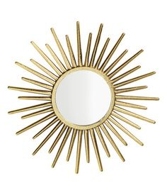 HM Home - Gold-colored. Round mirror with embossed metal frame. Screws not included. Diameter of mirror 4 in., diameter of frame approx. Home Living Room, Living Room Designs, Living Spaces, Spiegel Gold, Gold Bathroom Accessories, Sun Mirror, Turbulence Deco, 70s Decor, Dining Room Inspiration