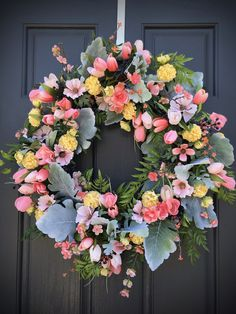 Spring Wreaths Spring Door Wreath Yellow Pink Green New Home Gift Housewarming Birthday Mothers Day Gift Spring Door Decor Flower Wreath Spring Door Wreaths, Pink And Green, Yellow, Spring Design, Happy Spring, New Home Gifts, Grapevine Wreath, House Warming, Floral Wreath