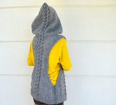 Cable Knit Vest Sweater Vest Hooded Vest Hand por reflectionsbyds