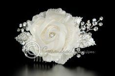Bridal Hair Flower of Chiffon with Rhinestone Sprays