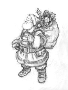 """drawings Santa   HOLIDAY/SANTA Drawings Variation on """"Santa at the North Pole"""""""