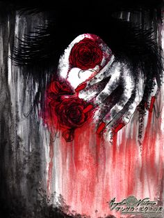 """by xnightmarexfaeriex on deviantart     O Rose, thou art sick!  The Invisible worm,  That flies in the night,  In the howling storm,    Has found out thy bed  Of Crimson joy;  And his dark secret love  Does thy life destroy.    """"The Sick Rose"""" by William Blake"""