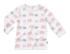 "Baby girl long sleeve tee, features Hoot Baby signature elephant print.  Snaps at neck. Complete the look with pale pink/white stripe pants. 100% Cotton ""A Layette range, Hoot Baby is for newborns thru to 12 months. Designed with heaps of personality, superior fabrics, and function in mind, Hoot Baby provides the ultimate in comfort and style"" $7.95 local shipping, free shipping on all Aust wide orders over $150!"