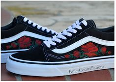 Delicate hand painted roses on Old Skool Vans; a unique way to add an elegant touch to a classic shoe. Each pair of shoes is made to order so if youd like changes made, such as a different style or color of vans or flowers, just leave me a note in the notes section when you make your purchase letting me know your preference! I can also add initials or dates upon request.  Feel free to contact me for any other requests! Im extremely flexible so Im sure we can come up with the perfect design…