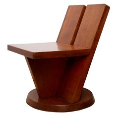 Maxime Old; Solid Wood Chair, 1940s.