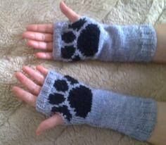 Wrist warmers -  paw print - dog cat wolf - fingerless mittens - gloves - mitts
