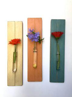 Reclaimed Wood Test Tube Flower Vase. Wall Flower Vase. Ready to Ship