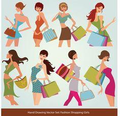 Shopping vector on VectorStock® Free Vector Graphics, Eps Vector, Vectors, Gratis Download, Free Web Design, Silhouette Vector, Photoshop Design, Girls Shopping, Graphic Art