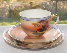 Vintage Noritake c1920s Lakeside Cottage Landscape Scene Trio Cup Saucer Plate | eBay