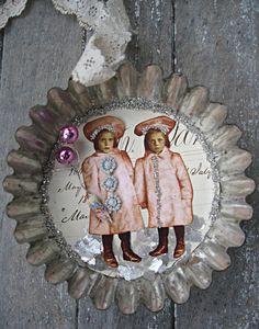Winter ornament, vintage tart mold, glass glitter, french tatting trim, vintage wallpaper. $14.00, via Etsy.