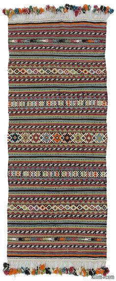 Vintage kilim rug hand-woven in Afyon, located inland from the Aegean coast of Turkey in mid-20th century. This finely woven kilim is in very good condition.
