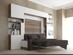 Wall Bed Over sofa . Wall Bed Over sofa . Leather Sectional sofas for Modern Living Room Cama Murphy, Murphy Bed Ikea, Murphy Bed Plans, Sofa Bed King Size, King Beds, Sofa Design, Interior Design, Shelf Design, One Room Flat