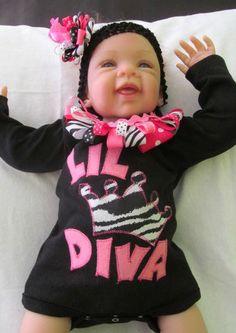 Lil Diva princess crown baby girl bodysuit by FiestaKidsBoutique, $24.00