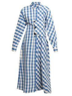 New Jil Sander Genziana gingham cotton shirtdress. Womens Dresses from top store Edgy Dress, Casual Dresses, Jil Sander, Hijab Fashion, Fashion Dresses, Vetement Fashion, Cotton Shirt Dress, Blue And White Dress, Little Girl Dresses