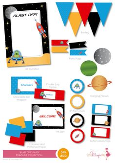 Blast Off into Space  Party PRINTABLE by OneMagicDayPrintable, $55.00
