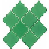 Pacific Tile Company Water Jet Glass Series, Arabesque, Emerald, Glossy, Green, Glass
