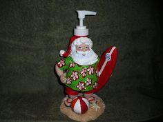 Surfing   Santa Soap  / Lotion Dispenser by JUNKMANSGAL on Etsy etsy.com/shop/junkmansgal