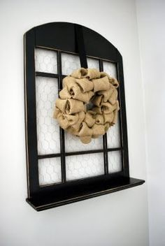 Upcycled Wood Window... love the shape + the chicken wire