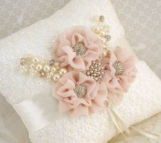 Ring Bearer Pillow- Bridal Pillow in Ivory and Blush with Lace, Jewels and Pearl… Ring Bearer Pillow- Bridal Pillow in Ivory and Blush with Lace, Jewels and Pearls- Vintage Touch Ring Pillow Wedding, Wedding Pillows, Silk Ribbon Embroidery, Hand Embroidery, Diy Flowers, Fabric Flowers, Wedding Flowers, Ring Bearer Pillows, Ring Pillows