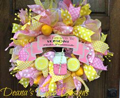 Pink and Yellow Lemonade Deco Mesh Wreath by DeanasDecoDesigns on Etsy