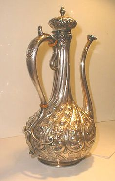 Antique Victorian Turkish sterling silver coffee ewer or pot