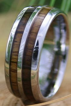 8mm tungsten carbide ring inlaid with genuine koa wood. Designed with high polished tungsten edges and center tungsten stripe going through the center of the ring. This would make such an unique mens wedding band or special Christmas gift