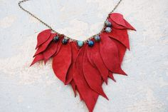 Leather Necklace Maximum Raspberry Leaves with Blue by jessamity, $59.00