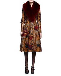 Fur-Collar+Python-Embossed+Leather+Coat,+Tobacco/Multi/Ginger+by+Alexander+McQueen+at+Neiman+Marcus.