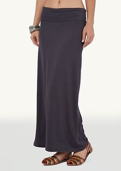 image of Solid Roll Waist Maxi Skirt