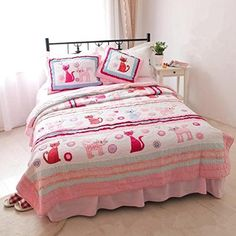 Kids' Bedspread Sets - Norson Pink Cartoon Bedding  Patchwork Quilt  Cat Bedding Sets  Girl Bedroom Bedding  Kids Bedding Set  3pcs -- Be sure to check out this awesome product.