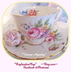 Vintage Aynsley Teacup and Saucer Set      by EnglandinaCup