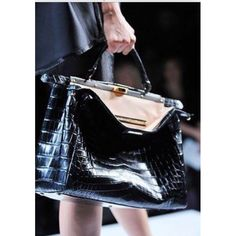 Peekaboo crocodile crossbody bag Fendi Black db94d8b74515e