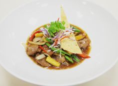 """""""I love duck so was delighted to see roasted duck with bamboo shoots, wok fried duck breast with bamboo shoots, black mushrooms (love), chilli and basil leaves, served with steamed rice.  Love love love."""" Read more: http://www.therealgeordiearmani.com/white-orchid-restaurant/"""