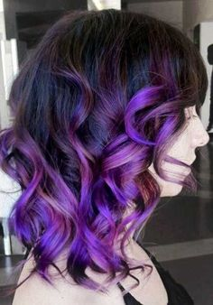 Before you ask for purple hair - hair salon Ombre Hair, Curly Purple Hair, Ombre Bob, Short Ombre, Purple Balayage, Balayage Hair Blonde, Purple Ombre, Purple Highlights, Purple Tips