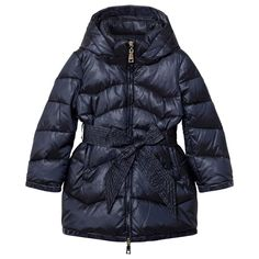 Monnalisa Navy Long Line Padded Coat with Bow Tie Detail