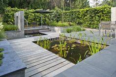 Tuinontwerp en tuinaanleg Eindhoven Helmond van strakke vijver met vlonder en natuursteen tegelverharding.