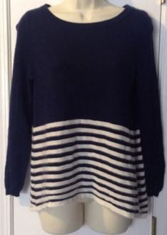Joie Alexis C 100 Cashmere Crewneck Sweater Navy Blue White Striped XS | eBay
