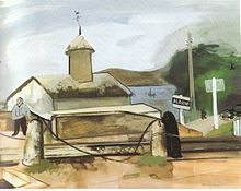 Alassio railway station. In this painting Nussbaum shows the sadness which afflicts him during the forced exile caused by the persecution of...