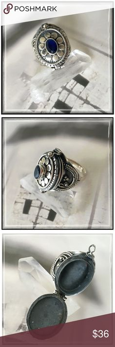 """✨Sterling Silver Indian Sapphire Poison Ring✨ ✨Beautiful Sterling Silver Sapphire Poison Ring✨A """"Poison Ring"""" is a type of Ring with a container under the the bezel that could be used to hold poison or another substance, popular during the sixteenth century✨It was used either to slip poison into an enemy's food or drink, or to facilitate the suicide of the wearer in order to escape capture or torture. Today we use these rings to carry perfume, locks of hair, devotional relics, messages and…"""