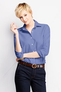 Women's Long Sleeve Straight Collar Oxford Sportshirt from Lands' End