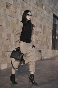 [ Lizzie Lo ]: SMOOTH CRIMINAL http://www.lizzie-lo.com/2016/04/smooth-criminal.html [PRADA eyebrow sunglasses  +  Kat Von D slayer studded kiss lipstick  +  Maison Martin Margiela trench sleeves  +  Comme des Garçons Homme dropcrotch trousers  +  Fendi By The Way bag  +  LOEWE nodo  +  Maison Martin Margiela floating heel boots]