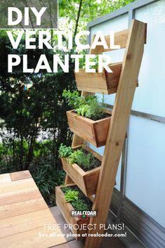 Find out how to build this vertical garden planter with our free project plants. This Urban Garden is easy to build and perfect if you live in a small space! garden Vertical Garden for Urban Living Diy Projects Plans, Backyard Projects, Outdoor Projects, Backyard Patio, Garden Projects, Backyard Landscaping, Vertical Garden Planters, Deck Planter Boxes, Vertical Herb Gardens
