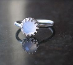 Blue chalcedony ring sterling silver ring by KCDesignsshop on Etsy