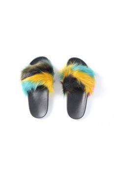 Farebné papuče s kožušinou 851 B/Y/M Fur Slides, Slippers, Sandals, Shoes, Fashion, Moda, Shoes Sandals, Zapatos, Shoes Outlet