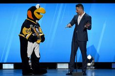 Joe Manganiello Photos Photos - Mascot Iceburgh of the Pittsburgh Penguins talks with host Joe Manganiello during the 2017 NHL Awards and Expansion Draft at T-Mobile Arena on June 21, 2017 in Las Vegas, Nevada. - 2017 NHL Awards & Expansion Draft