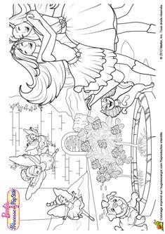 Barbie et Keira sont heureuses de jouer à Gardénia, à colorier.